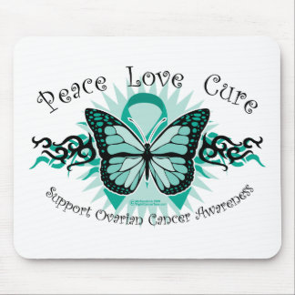 Ovarian Cancer Butterfly Tribal Mouse Pad
