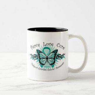 Ovarian Cancer Butterfly Tribal Two-Tone Mug
