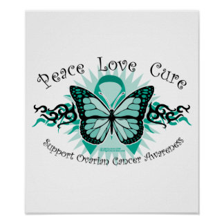 Ovarian Cancer Butterfly Tribal Poster