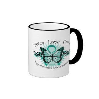 Ovarian Cancer Butterfly Tribal Ringer Mug