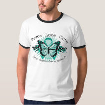 Ovarian Cancer Butterfly Tribal T-Shirt