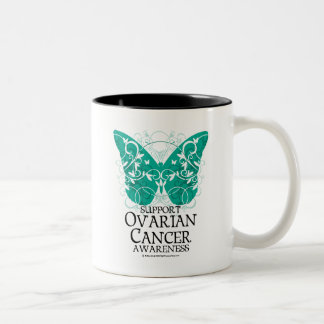 Ovarian Cancer Butterfly Two-Tone Coffee Mug