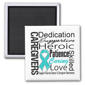Ovarian Cancer Caregivers Collage 2 Inch Square Magnet