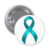 Ovarian Cancer   Cervical Cancer - Teal Ribbon Pinback Button