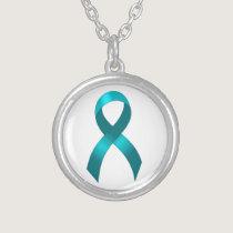 Ovarian Cancer | Cervical Cancer | Teal Ribbon Silver Plated Necklace