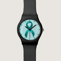 Ovarian Cancer | Cervical Cancer - Teal Ribbon Wrist Watch