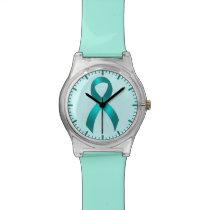 Ovarian Cancer | Cervical Cancer - Teal Ribbon Wristwatch