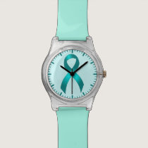 Ovarian Cancer | Cervical Cancer - Teal Ribbon Wristwatch