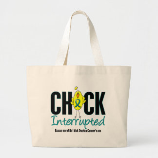 Ovarian Cancer Chick Interrupted Canvas Bags