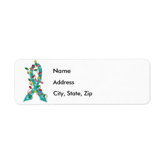 Ovarian Cancer Christmas Lights Ribbon Label