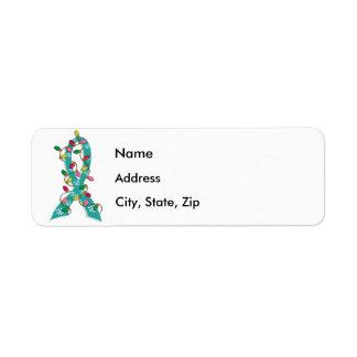 Ovarian Cancer Christmas Lights Ribbon Label