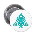 Ovarian  Cancer Christmas Ribbon Tree Pinback Button