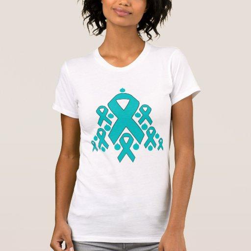 Ovarian  Cancer Christmas Ribbon Tree T Shirts