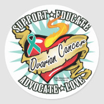 Ovarian Cancer Classic Heart Classic Round Sticker