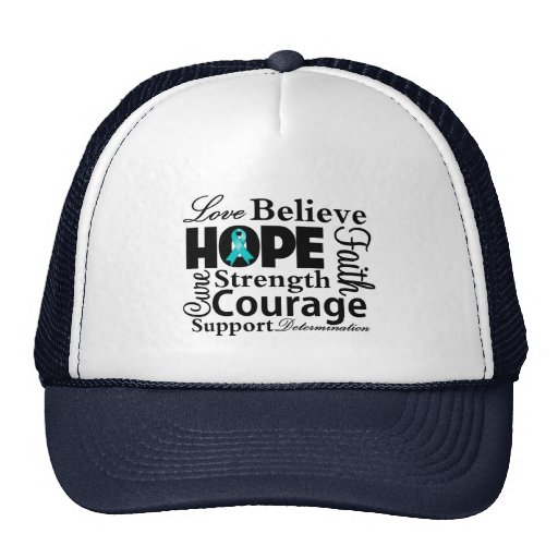 Ovarian Cancer Collage of Hope Trucker Hats