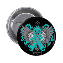 Ovarian Cancer Cool Wings Pinback Button