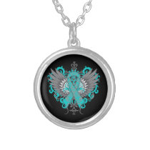 Ovarian Cancer Cool Wings Silver Plated Necklace