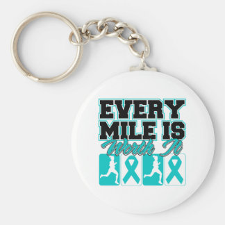 Ovarian Cancer Every Mile is Worth It Basic Round Button Keychain