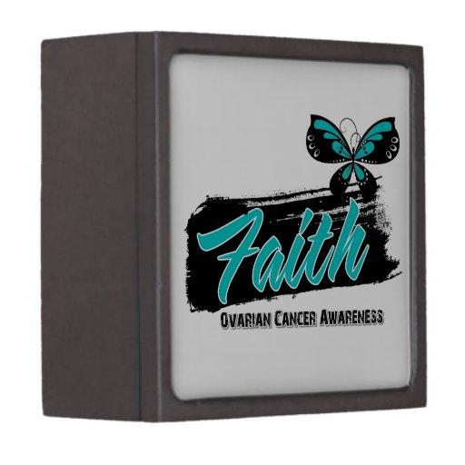 Ovarian Cancer Faith Butterfly Premium Trinket Box