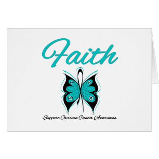 Ovarian Cancer Faith Butterfly Ribbon Greeting Cards