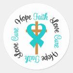 Ovarian Cancer Faith Hope Love Cross Round Sticker