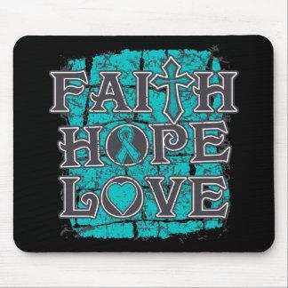 Ovarian Cancer Faith Hope Love Mouse Pads