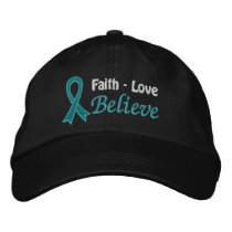 Ovarian Cancer Faith Love Believe Embroidered Baseball Hat