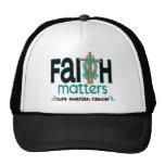 Ovarian Cancer Faith Matters Cross 1 Trucker Hat
