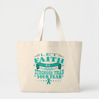 Ovarian Cancer Faith Stronger than Fear.png Jumbo Tote Bag