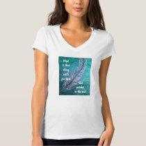 Ovarian Cancer Feather Teal Tee Shirt