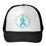 Ovarian Cancer Fight Cure Hope Logo Trucker Hats