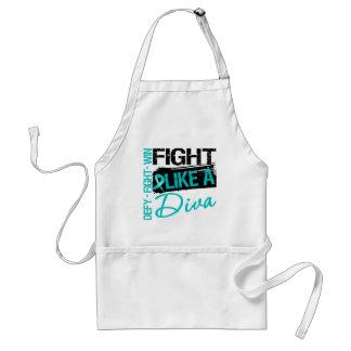 Ovarian Cancer - Fight Like a Diva Adult Apron