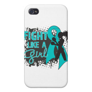 Ovarian Cancer Fight Like A Girl Grunge Cover For iPhone 4
