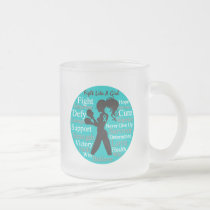 Ovarian Cancer Fight Like A Girl Warrior Collage Frosted Glass Coffee Mug