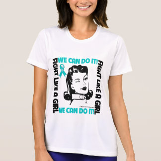 Ovarian Cancer - Fight LIke A Girl - We Can Do It T-shirt