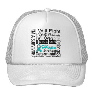 Ovarian Cancer Fight Persevere Overcome Win Mesh Hat