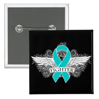 Ovarian Cancer Fighter Wings Button