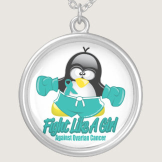 Ovarian Cancer Fighting Penguin Silver Plated Necklace