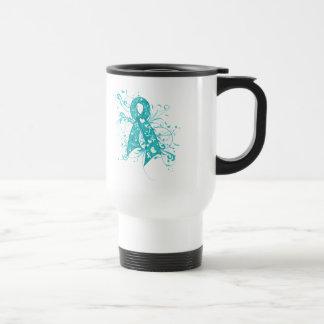 Ovarian Cancer Floral Swirls Ribbon Travel Mug