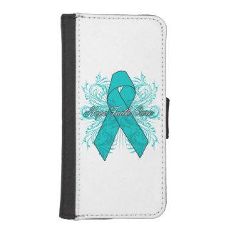 Ovarian Cancer Flourish Hope Faith Cure iPhone 5 Wallets
