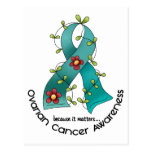 Ovarian Cancer FLOWER RIBBON 1 Postcard