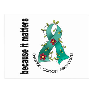Ovarian Cancer Flower Ribbon 3 Postcard