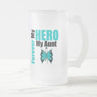Ovarian Cancer Forever My Hero My Aunt 16 Oz Frosted Glass Beer Mug