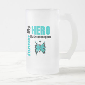 Ovarian Cancer Forever My Hero My Granddaughter 16 Oz Frosted Glass Beer Mug