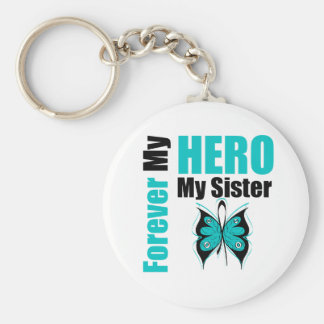 Ovarian Cancer Forever My Hero My Sister Key Chain