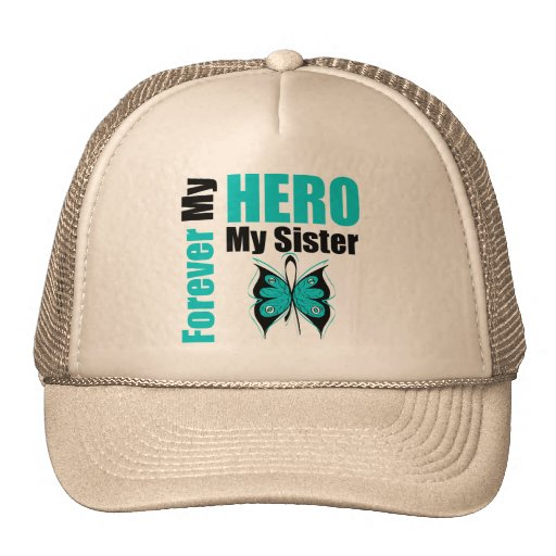Ovarian Cancer Forever My Hero My Sister Mesh Hat