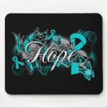 Ovarian Cancer Garden Ribbon Mouse Pad