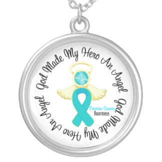 Ovarian Cancer God Made My Hero An Angel Round Pendant Necklace