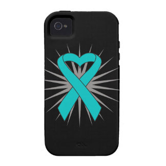 Ovarian Cancer Heart Ribbon Case-Mate iPhone 4 Cases