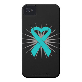 Ovarian Cancer Heart Ribbon iPhone 4 Covers